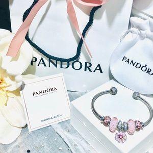 Pandora Open Bangle Styled w/New Pandora Charms